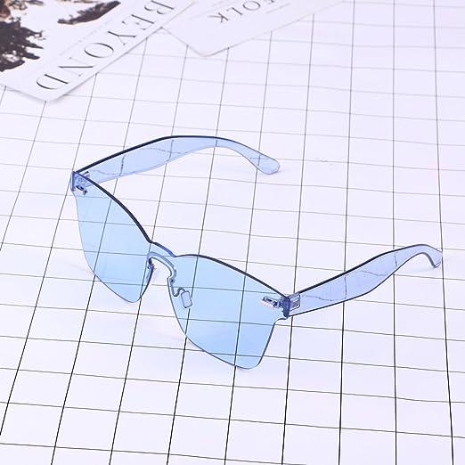 0c32b89400ba OULII Rimless Sunglasses Novelty Pratical Beach Seaside Sunglass Mirror  Summer Eyewear for Men Women (Blue) at Amazon Women's Clothing store: