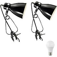 Nordlux Cyclone - Juego de 2 lámparas con pinza, diseño retro, color blanco y negro Lámpara LED con pinza de 6 W, estilo vintage, retro, de metal