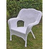 International Caravan 3180-2CH-WT-IC Furniture Piece Camelback Resin Wicker Patio Chairs (Set of 2)