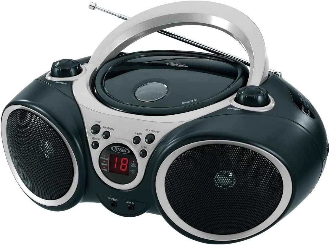 Jensen CD-490 Portable Sport Stereo CD Player with AM/FM Radio and Aux Line-in & Headphone Jack (Silver)