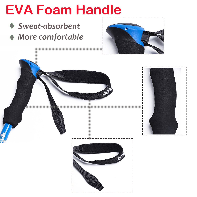 Standard//Blue- 2pcs for Travel Hiking Camping Climbing Backpacking Walking Alpenstocks with EVA Foam Handle YAHILL/® 1Folding Trekking Pole Collapsible Stick Ultralight Adjustable