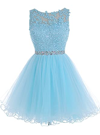 2d133b8f5f Tideclothes ALAGIRLS Short Beaded Homecoming Dress Tulle Lace Applique Prom  Party Gowns Blue US2