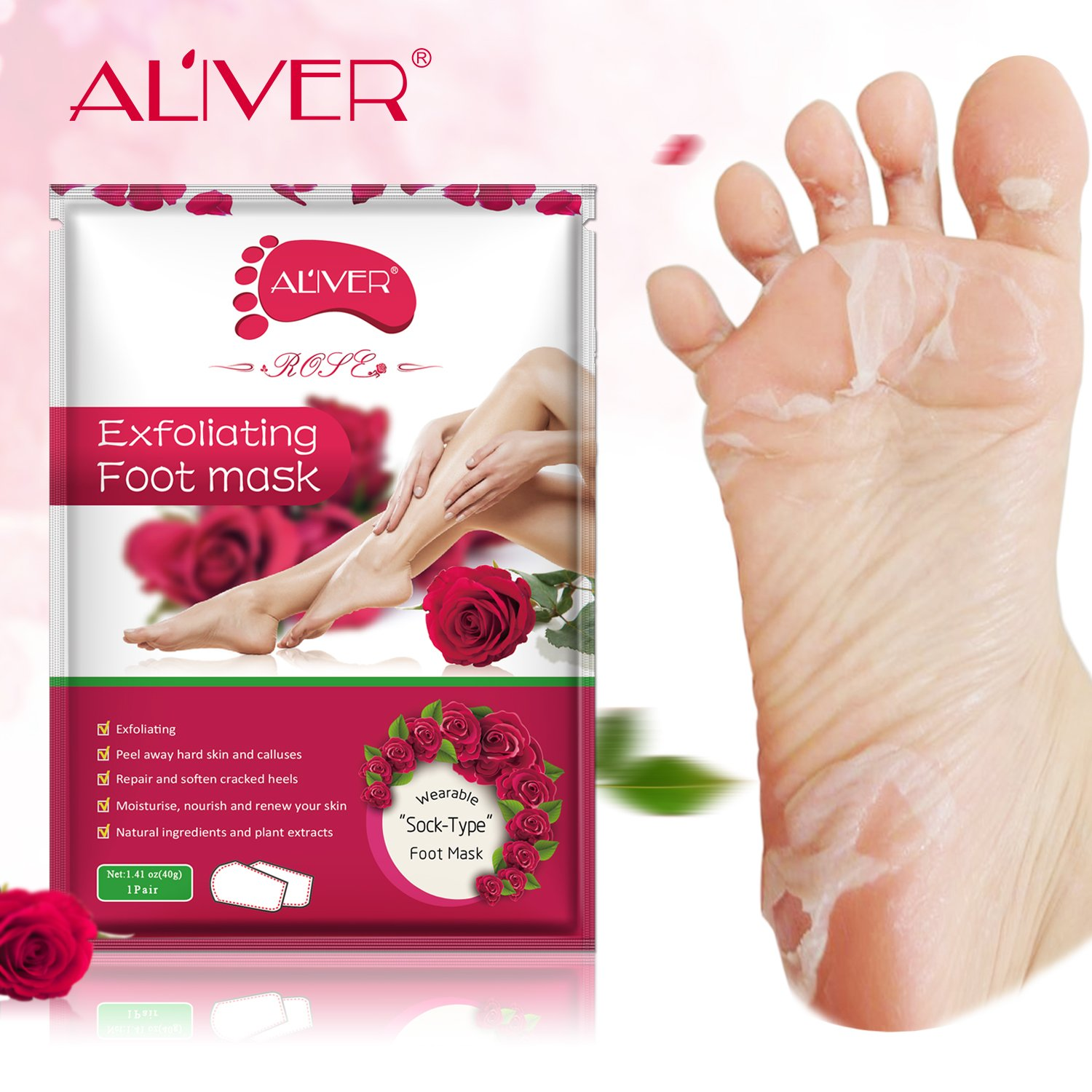 2 Pairs Foot Peeling Mask, LeSB Rose Scented Exfoliating Callus Peel Booties, Baby Your Foot Naturally in 1 Week