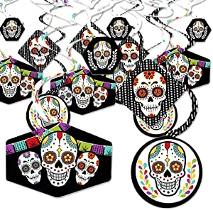 Big Dot of Happiness Day of the Dead - Halloween Sugar Skull Party Hanging Decor - Party Decoration Swirls - Set of 40