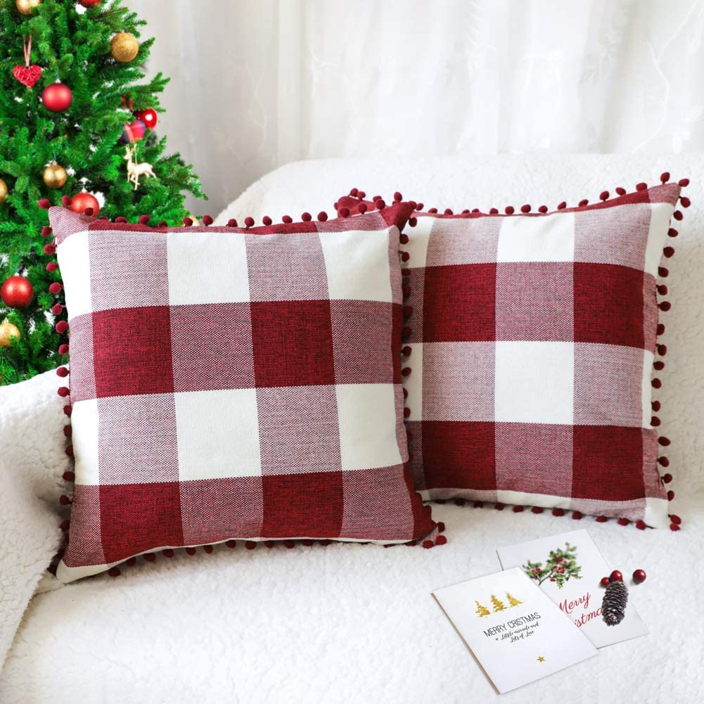 4TH Emotion Set of 2 Christmas Buffalo Check Plaid Throw Pillow Covers with Pompoms Cushion Case Cotton Linen for Sofa Red and White, 18 x 18 Inches