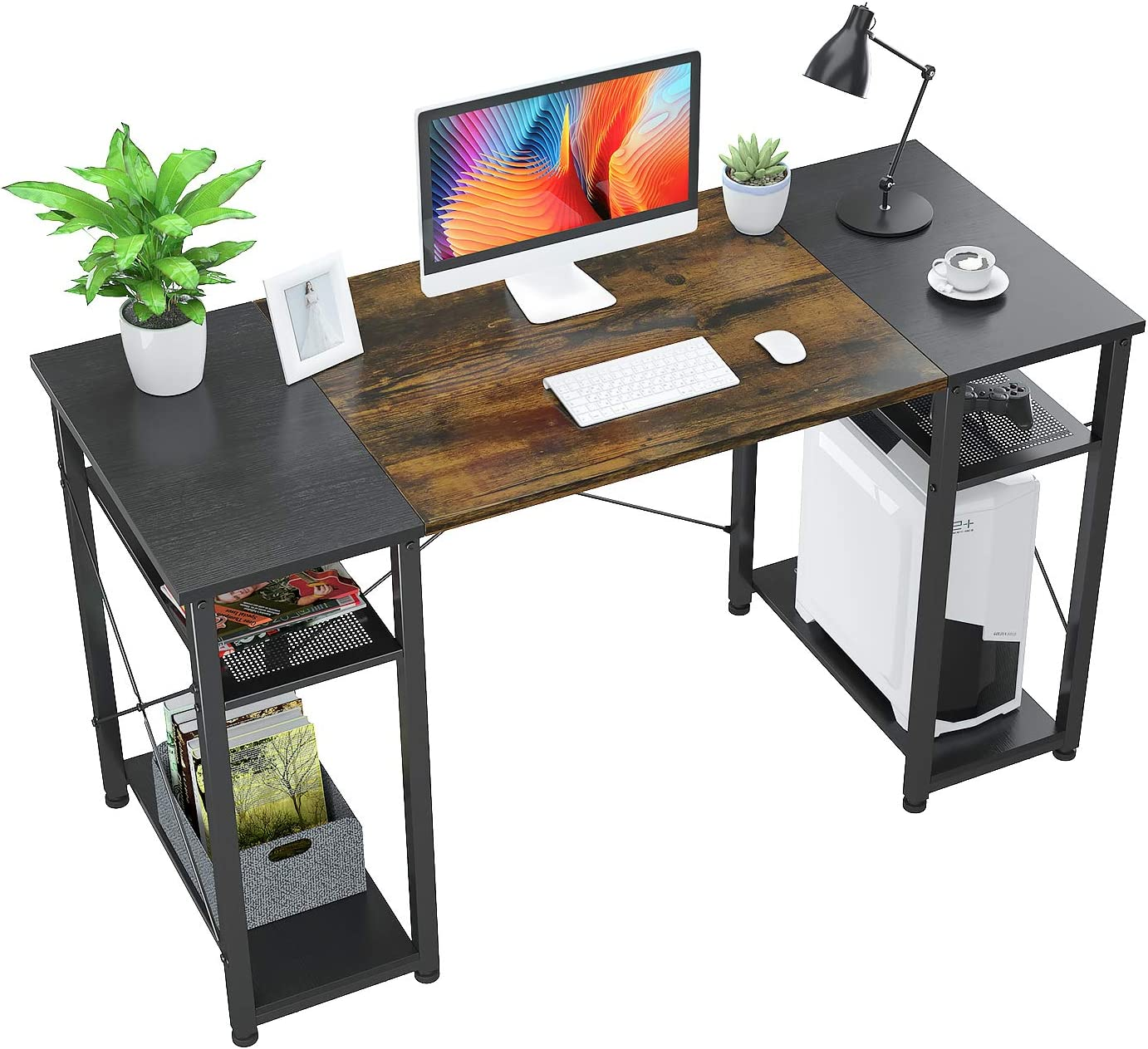 "Foxemart Computer Desk with Storage Shelves, 55"" Sturdy Office Desk with CPU Stand, Industrial Desk Study Writing Table for Home Office, Vintage Rustic Brown and Black"
