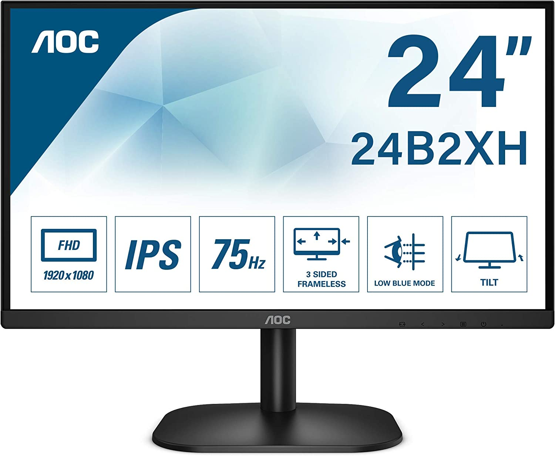 AOC 24B2XH - Monitor para PC de 24 pulgadas Full HD 75Hz 1920x1080, IPS, Mega Infinity DCR, Flickerfree, LowBlue Light, VESA, D - SUB, HDMI, Negro: Amazon.es: Informática