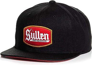 Sullen Mens Stencil Trucker Snapback Hat Black