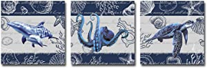 Rtriel Blue Sealife Canvas Wall Art Sea World Prints Turtle Whale Octopus Ocean Pictures for Bathroom Wall Decor 12 x 12 Inches 3 Pieces