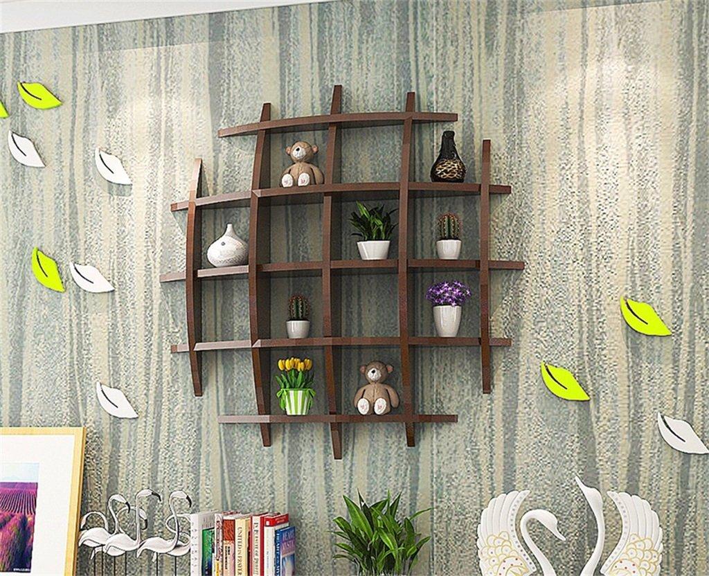 シュウクラブ@ 2色オプションの壁棚壁掛けクリエイティブパーティションウォールリビングルームテレビの背景装飾シェルフベッドルーム格子縞の装飾フレーム (色 : Black walnut)  Black walnut B077JZCF8C