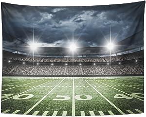 Emvency Tapestry Stadium Football Satdium Field Light Night Soccer Turf Home Decor Wall Hanging for Living Room Bedroom Dorm 60x80 Inches
