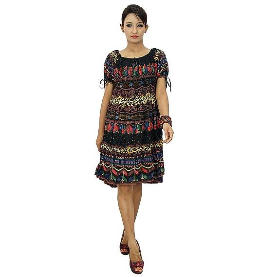 Playa del vestido del verano impresión del extracto corto Rayón Casual Mujeres Vestido de tirantes: Amazon.es: Ropa y accesorios