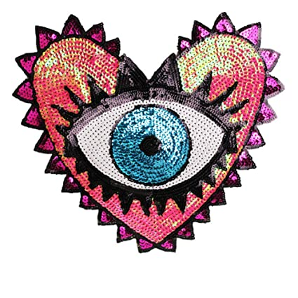 ede55c1e432b4 Sequin Patch Fashion Coat Patch Heart-Shaped Eye Sequins Embroidery  Clothing Accessories Applique DIY Embroidery Flower Patches Jacket Badge  (Style A)