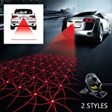 Car Laser Fog Lamp - Universal Auto Rear-end Alarm LED Tail Light for Cars and Motorcycles Brake Parking Anti-Collision Safety Warning Lights (Grid Pattern)