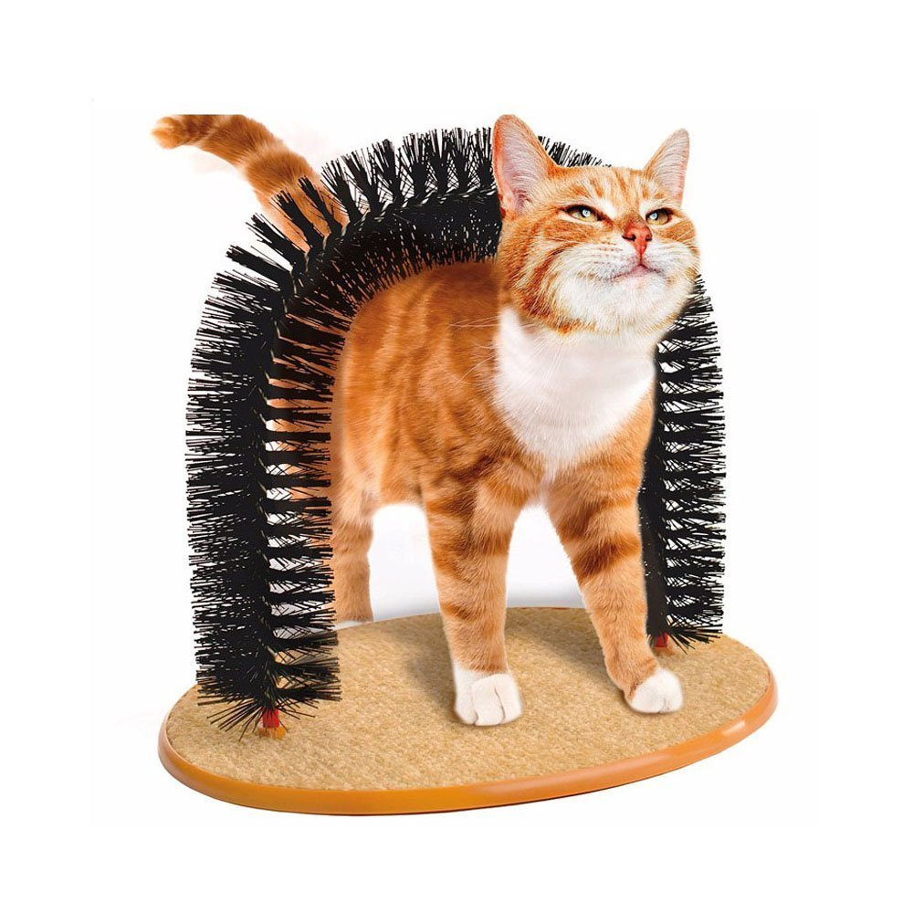 Alotm Pet Cat Arch Self-Groomer and Massager - Groom Toy Pet Cat Scratcher Toys Fur Grooming Brush - Helps Prevent Hairballs and Controls Shedding