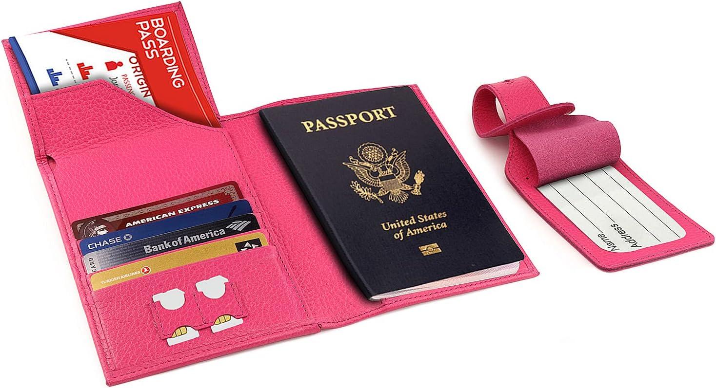 Otto Angelino - Porta Pasaporte de Cuero Real - Bloqueo de RFID, Compartimiento para Billetes de avión + Etiqueta para Equipaje (Rosado)