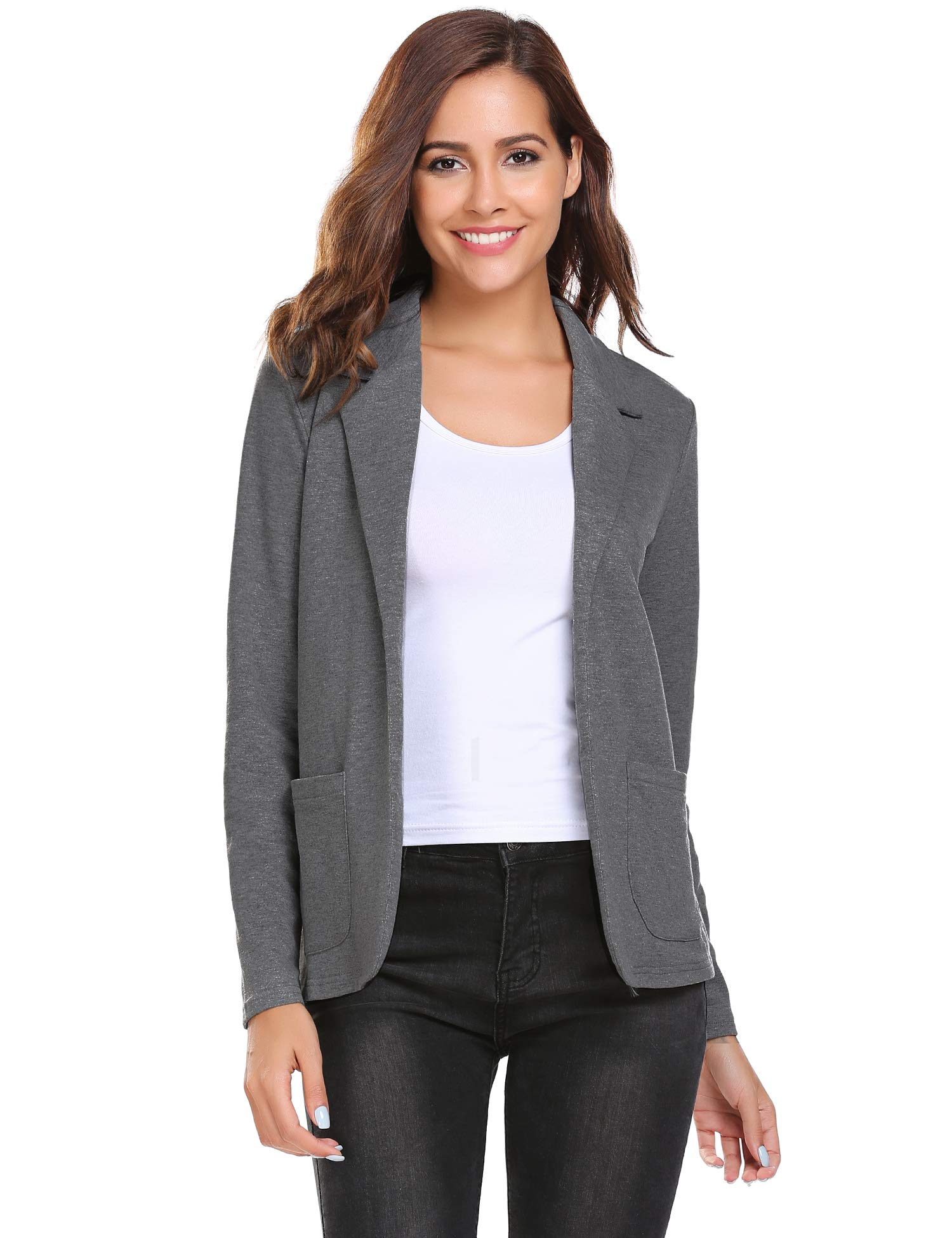 Bifast Women's Long Sleeve Open Front Blazer Oversized Gray XXL Business Carrer