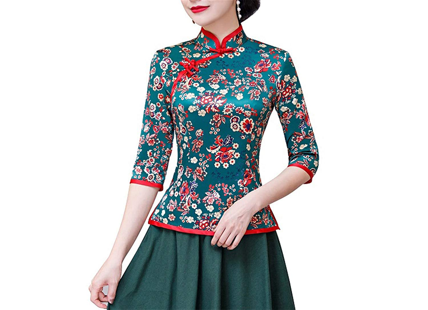 b8679c6994b6d Floral cheongsam shirt qipaotop sleeve chinese traditional top faux silk chinese  blouse for women clothing jpg
