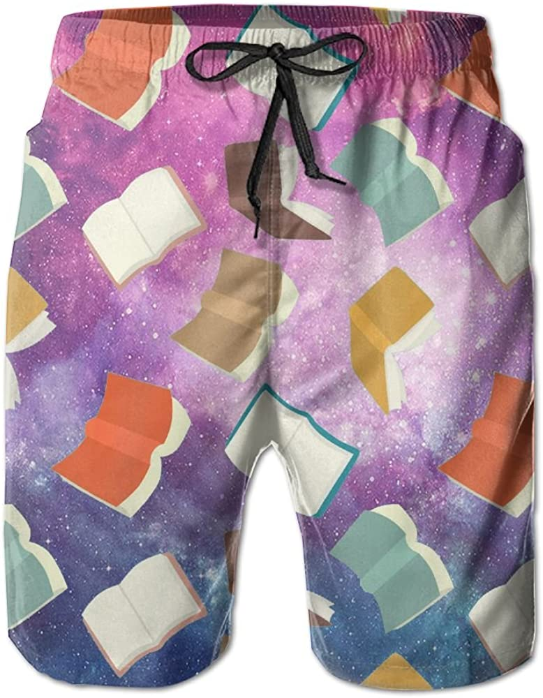TO-JP Mens 3D Printing Beach Shorts Science In The Book Swim Trunks