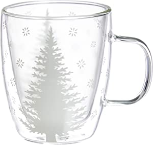 Cypress Home White Tree Glass Coffee Cup, 12 ounces