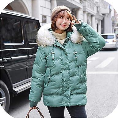 NEW-Women Down Cotton Coat Fur Hooded Parka Warm Jacket Puffer Shiny Winter