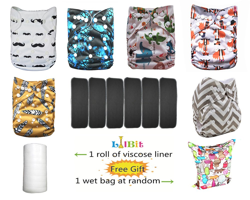 Baby 6 pcs Inserts And 6 pcs Reusable Adjustable One Size Cloth Diaper Covers LBTZH29-UK Shenzhen LilBit CO. LTD LBTUKF01