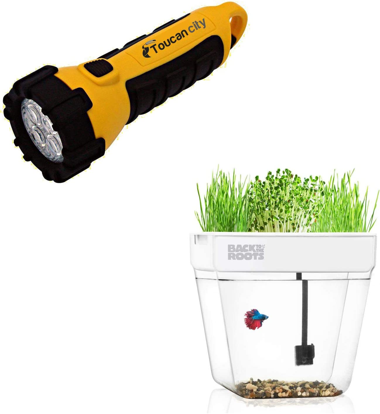 Toucan City LED Flashlight and Back to the Roots Premium Acrylic Water Garden Fish Tank That Grows Food 32000