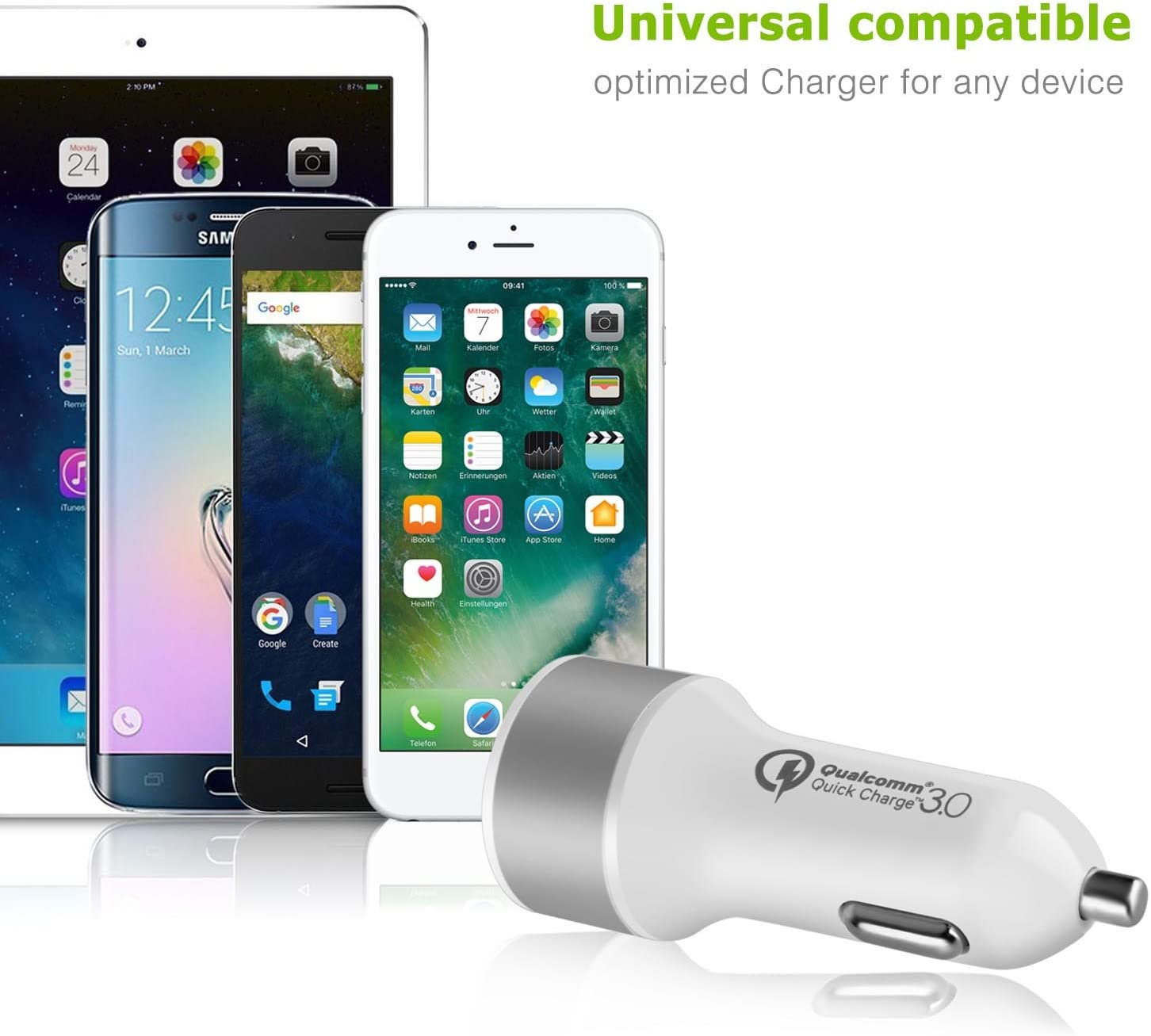 iOS Smartphone Tablet TNP Products CAR/_CHG/_QC30/_2P/_WHT iPad Pro//Air//Mini LG G6//V30 Android TNP Dual USB Port Car Charger with Quick Charge 3.0 Smart Fast Charge Port Power Adapter for iPhone X//8//7//Plus Samsung Galaxy S9//S8//Note 8