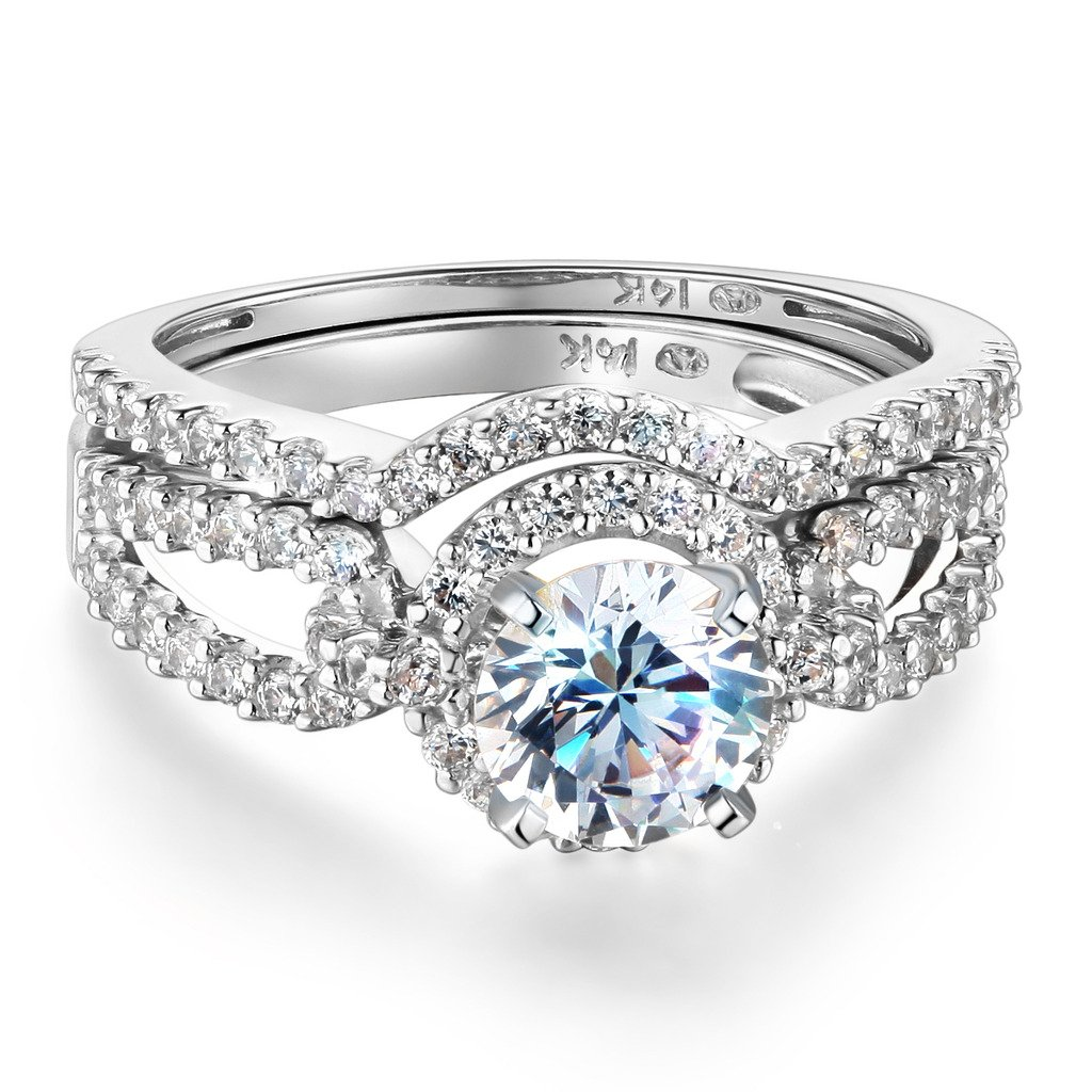 Wellingsale Ladies Solid 14k White Gold Polished CZ Cubic Zirconia Round Cut Engagement Ring with Side Stones - Size 6.5