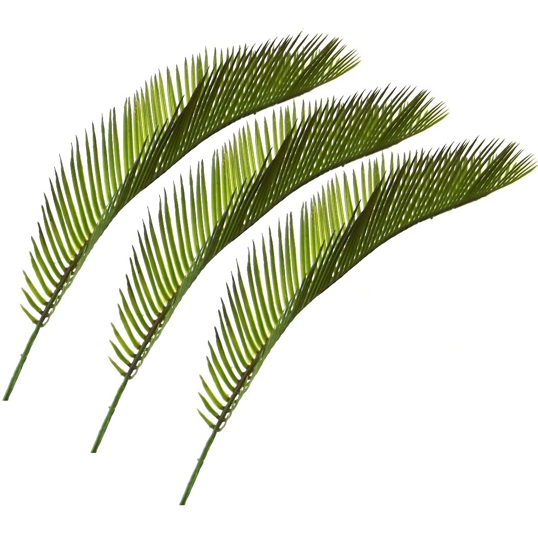 set of 3 artificial 41cm cycas palm leaves decorative plastic