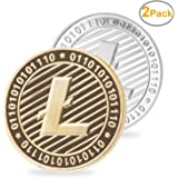 LZWIN 2 PCS Set of Gold and Silver Plated Litecoin Deluxe Collector's Set | Comes w/ a Plastic Round Display Case