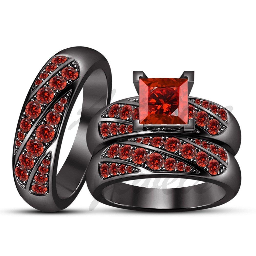 ArtLine Jewels Ladies/Gents 14K Black Gold Princess & Round Cut Garnet Ring Wedding Band Trio Ring Set