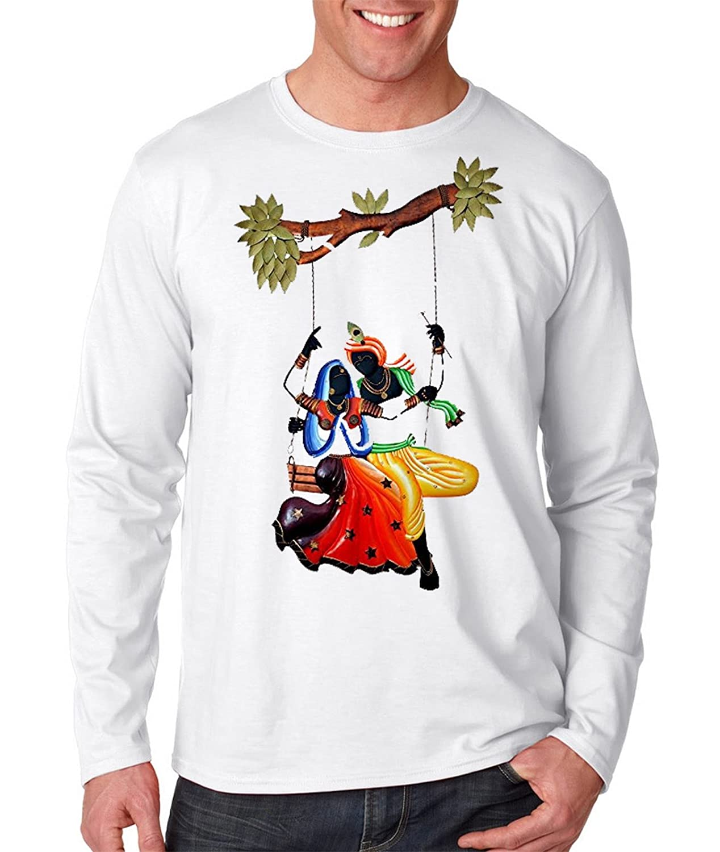 5551697f Nisol Radha Krishna| Full Sleeve | Round Neck |Printed Casual Men's White T- Shirt: Amazon.in: Clothing & Accessories