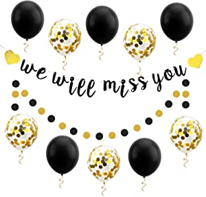 Luxiocio We Will Miss You Banner Balloon Going Away Party Decorations - Farewell Party Decorations Supplies - Black Gold Banner Confetti Latex Balloons for Retirement Office Work Party Sign Decor