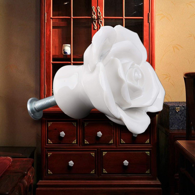 Screw Pink SurePromise 8PCS Ceramic Vintage Floral Rose Door Knobs Handle Drawer Kitchen