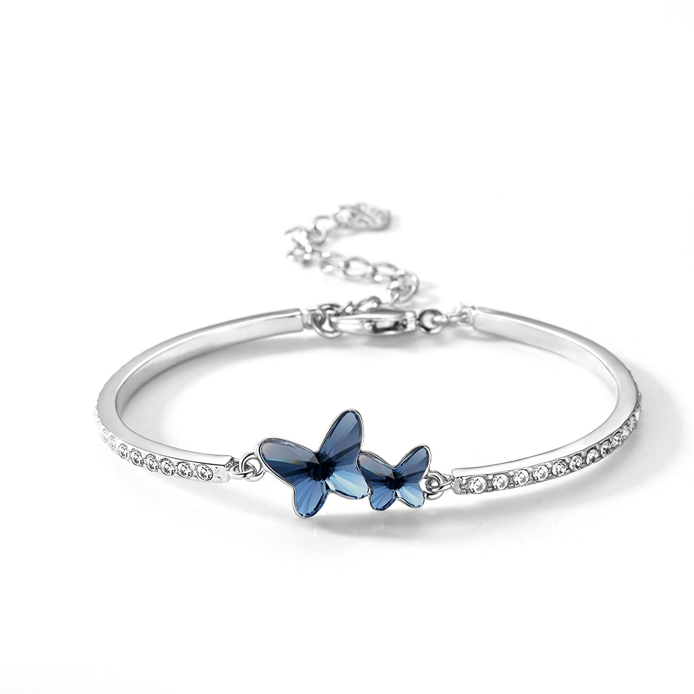 T400 Blue Purple Pink Butterfly Swarovski Crystal Bangle Bracelet ♥  Birthday Gift for Women Girls