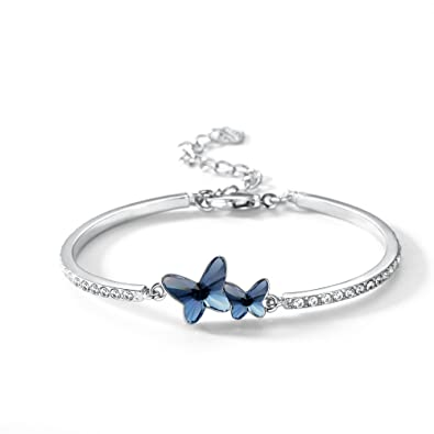 0c8a74488bb24 T400 Blue Purple Pink Butterfly Crystal Bangle Bracelet ♥ Birthday Gift for  Women Girls