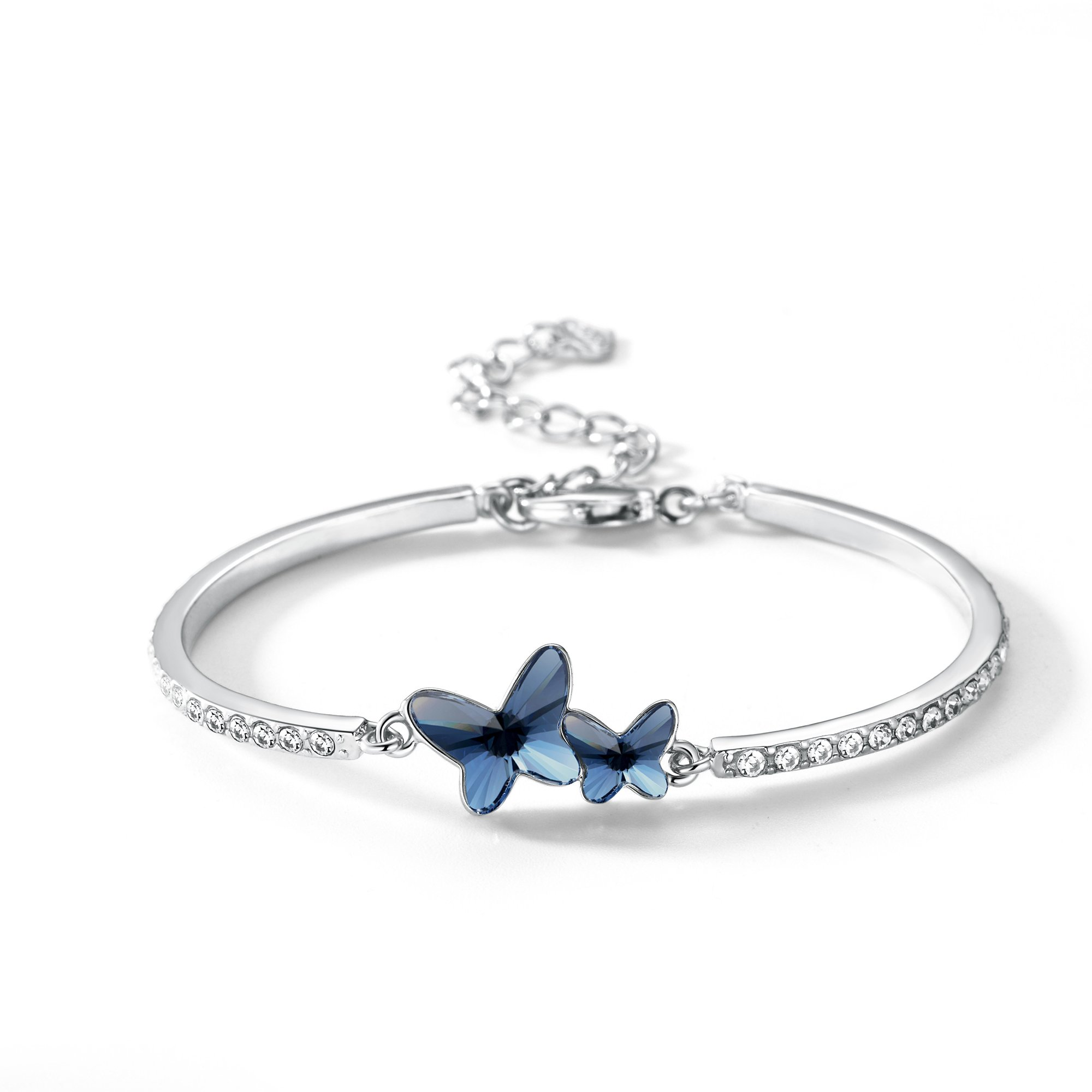 T400 Butterfly Bangle Bracelet Made with Swarovski Crystals Dream Chasers Love Gift (Blue)
