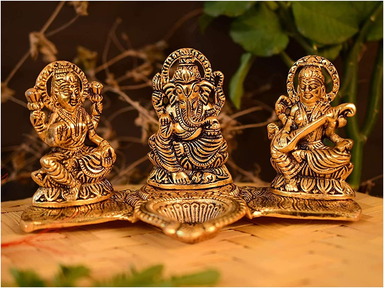 NOBILITY Decorative Laxmi Ganesha Sitting Diya Statue - Puja Showpiece Diya for Home Decorative Gift Puja Diwali Gifts