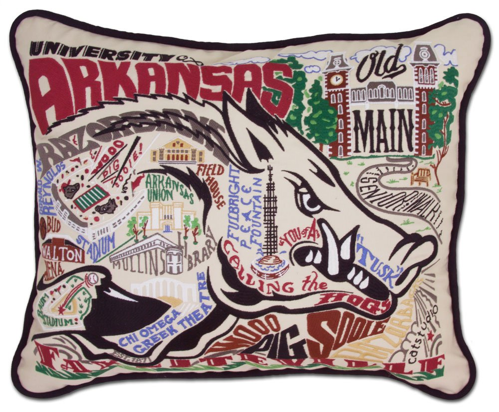 ARKANSAS UNIVERSITY OF COLLEGIATE EMBROIDERED PILLOW - CATSTUDIO by Catstudio Embroidered Pillow