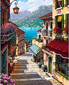 DIY Oil Paint by Number Kits for Adult Beginner Painting for Kids Art Craft on Canvas Home Decor WalL-Art 40x50CM Europe Town Landscape