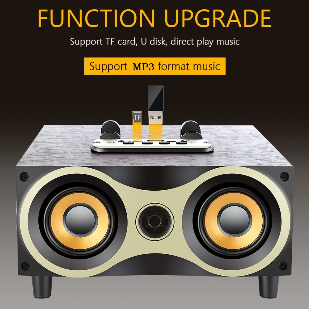 Desktop Portable Wooden Wireless Speaker Subwoofer Stero Bluetooth Speakers Support TF MP3 Player with FM Radio, Phone Holder for iPhone Android by Sysmarts (Image #7)