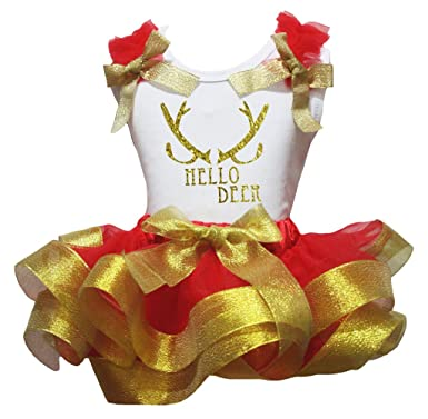 Petitebella Sequins Pineapple Red Shirt Petal Skirt Gold Ribbon Outfit Set Nb-8y