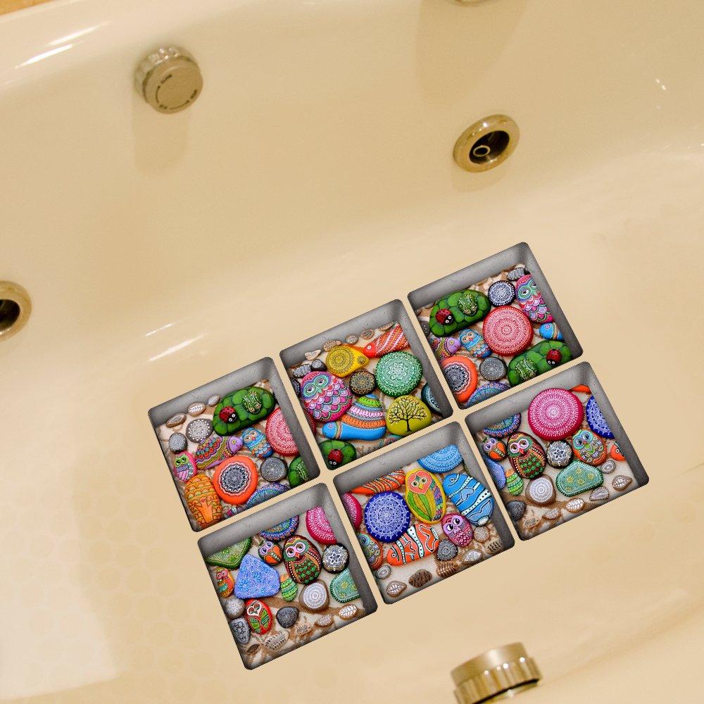 Weare Home Bunte Eule Muster Serie von 6 Stück Deko Design Kreativ Anti Rutsch Sticker für Sicherheit Kinder für Badewanne, je Stück 14.5×14.5cm