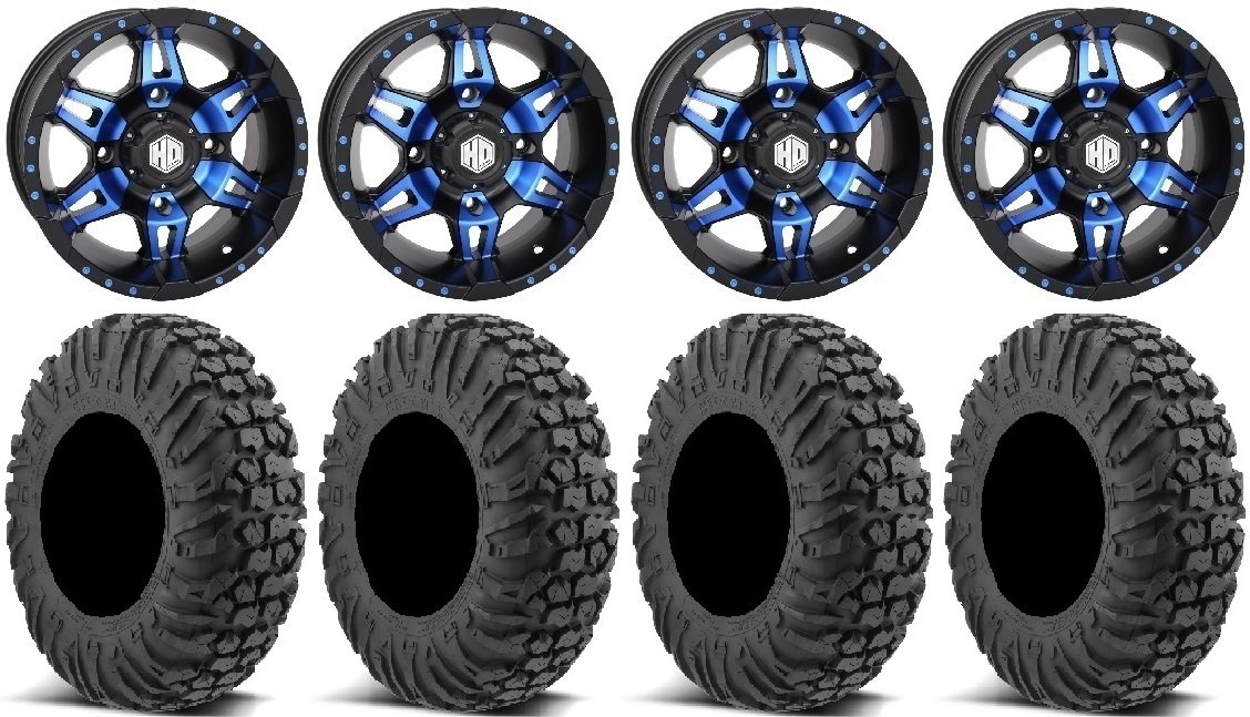 Bundle - 9 Items: STI HD7 14'' Wheels Blue/Black 30'' MotoVator Tires [4x110 Bolt Pattern 12mmx1.25 Lug Kit]