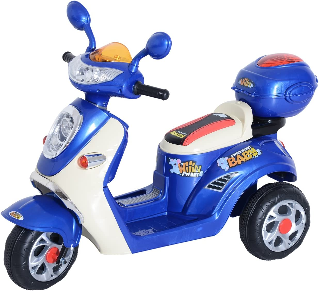 HOMCOM Coche Triciclo Moto Eléctrica Infantil Correpasillos a Batería Niños 3-8 años 6V Metal + PP 108x51x75cm Azul