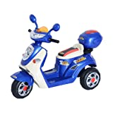 HOMCOM Kids Electric Ride On Toy Car Kids Motorbike Children Tricycle w/ 6V Chargeable Battery Headlight and Music (Blue)