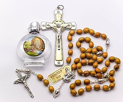 Catholic Gift Shop Ltd Set de Regalo de Madera de Olivo Rosario de Bellota con Cristales