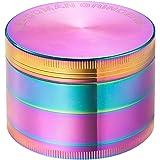 Colourful 4 Pieces Metal Zinc alloy Tobacco Grinder Spice Grinder Herb Grinder-Rainbow Metal (63mm-Diameter)-By KepooMan