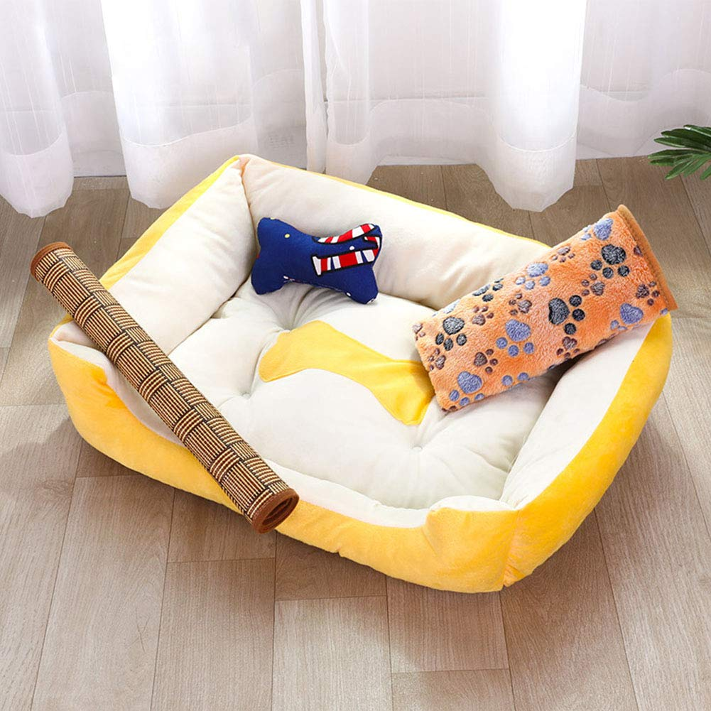 Small Suede Dog Bed, Square Padded Sleeping Pet Cushion, Soft Washable Non-Skid Pet Kennel Cat Litter Keep Warm Yellow,Four Seasons Universal,S